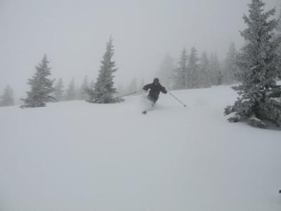 Shayne telemarking powder in May