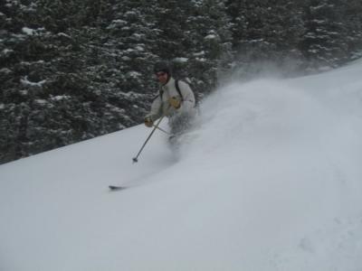 Tim telemarking powder in May