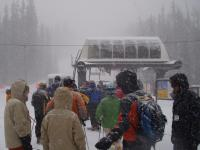 Powder day - Waiting for first chair